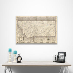 Rustic Vintage Montana state map pin board with pushpins over a table