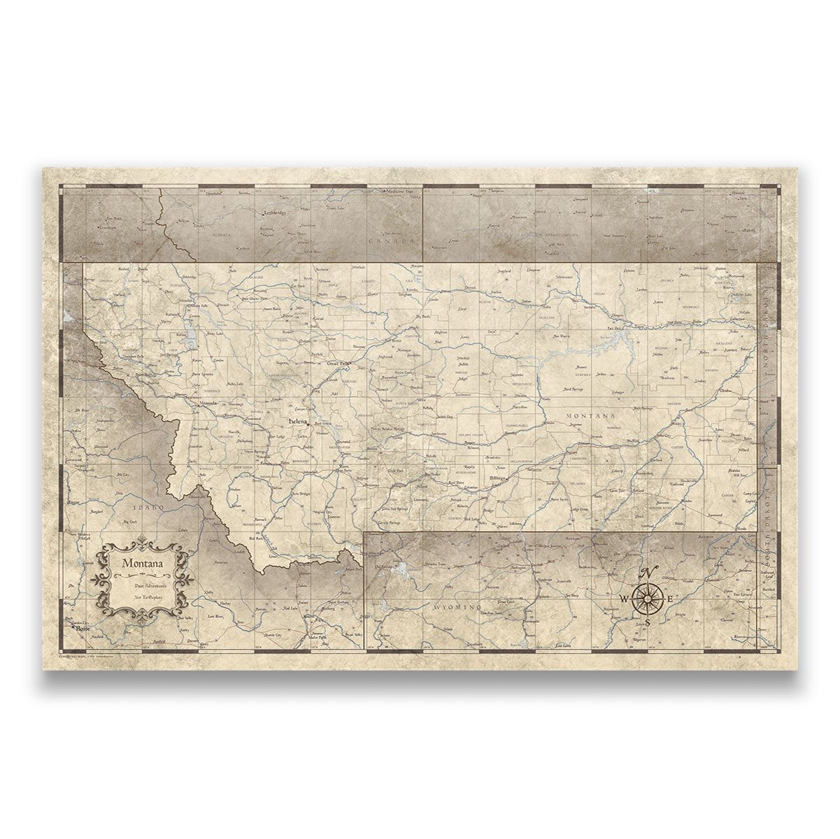 Montana Travel Map Pin Board With Push Pins Rustic Vintage
