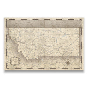 Montana state map pin board with pushpins