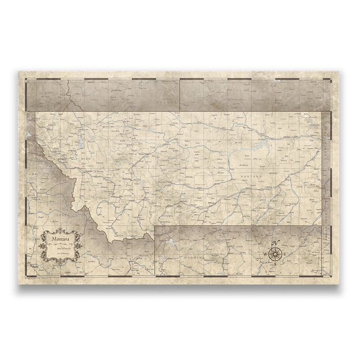 Montana Travel Map Pin Board w/Push Pins - Rustic Vintage