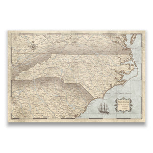 Rustic Vintage North Carolina state map pin board with pushpins