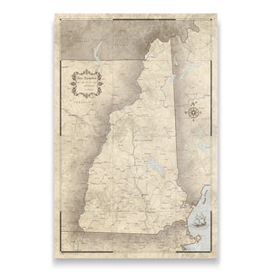 Rustic Vintage New Hampshire state map pin board with pushpins