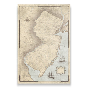 Rustic Vintage New Jersey state map pin board with pushpins