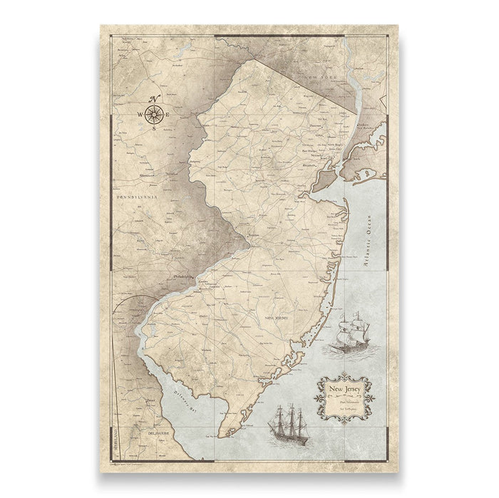 New Jersey Travel Map Pin Board w/Push Pins - Rustic Vintage