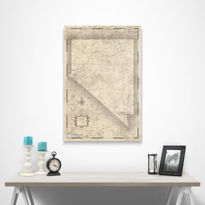 Rustic Vintage Nevada state map pin board with pushpins over a table