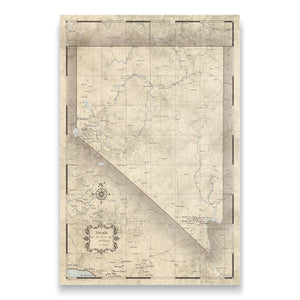 Rustic Vintage Nevada state map pin board with pushpins