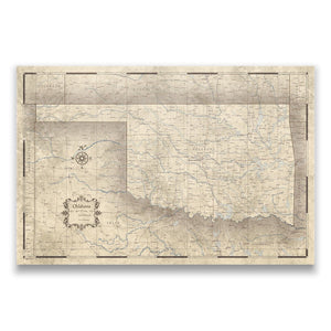 Oklahoma state map pin board with pushpins
