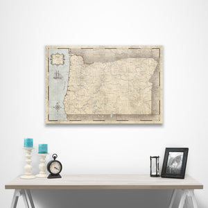 Rustic Vintage Oregon state map pin board with pushpins over a table