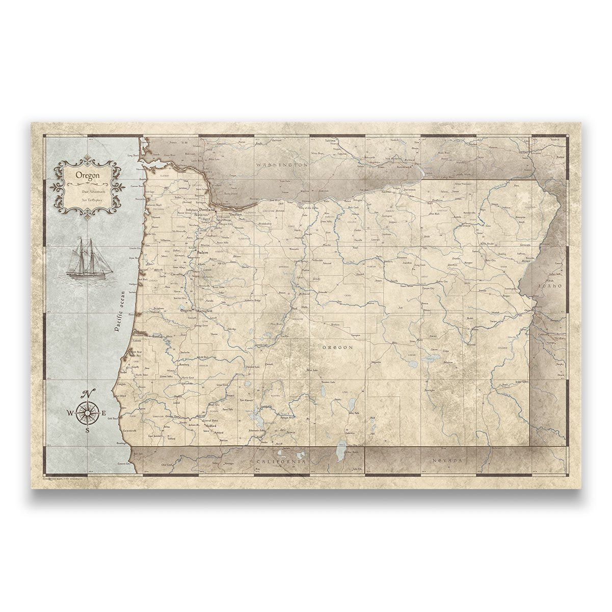 Vintage Oregon Map.Oregon Travel Map Pin Board With Push Pins Rustic Vintage
