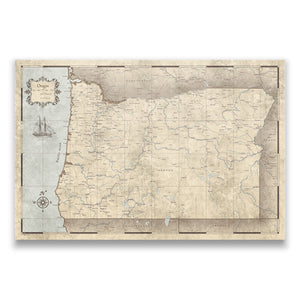 Rustic Vintage Oregon state map pin board with pushpins