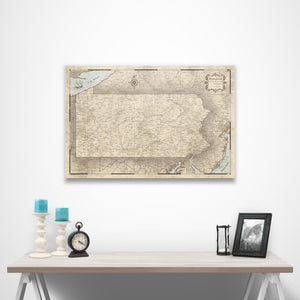 Rustic Vintage Pennsylvania state map pin board with pushpins over a table