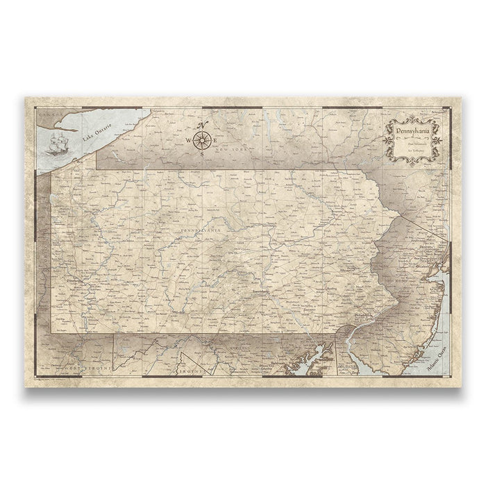Pennsylvania Travel Map Pin Board w/Push Pins - Rustic Vintage