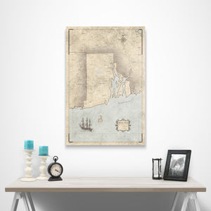 Rustic Vintage Rhode Island state map pin board with pushpins over a table