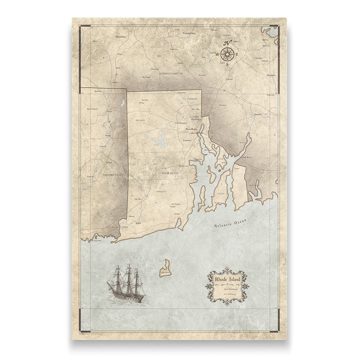 Rhode Island Travel Map Pin Board w/Push Pins - Rustic Vintage