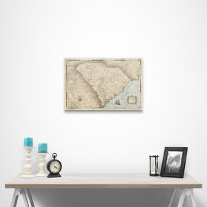 Rustic Vintage South Carolina state map pin board with pushpins over a table