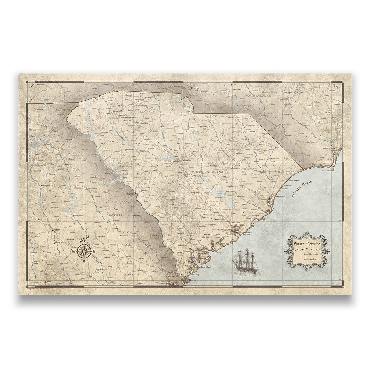 South Carolina Travel Map Pin Board with Push Pins: Rustic Vintage