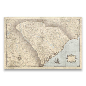 Rustic Vintage South Carolina state map pin board with pushpins