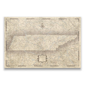 Rustic Vintage Tennessee state map pin board with pushpins
