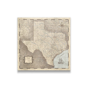 Rustic Vintage Texas state map pin board with pushpins