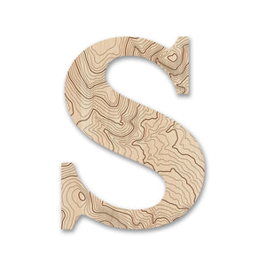 Wood Letters with Laser-Etched Topographic Map S