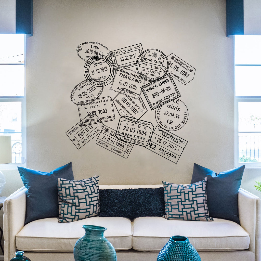 Passport Stamp Wall Decal Set - Generic
