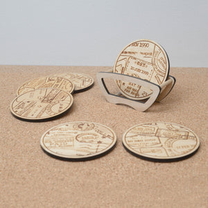 Wooden passport stamp coaster