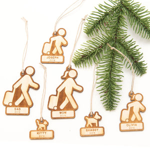 Family Travelers (Customizable) - Wooden Christmas Ornament