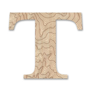 Wood Letters with Laser-Etched Topographic Map T