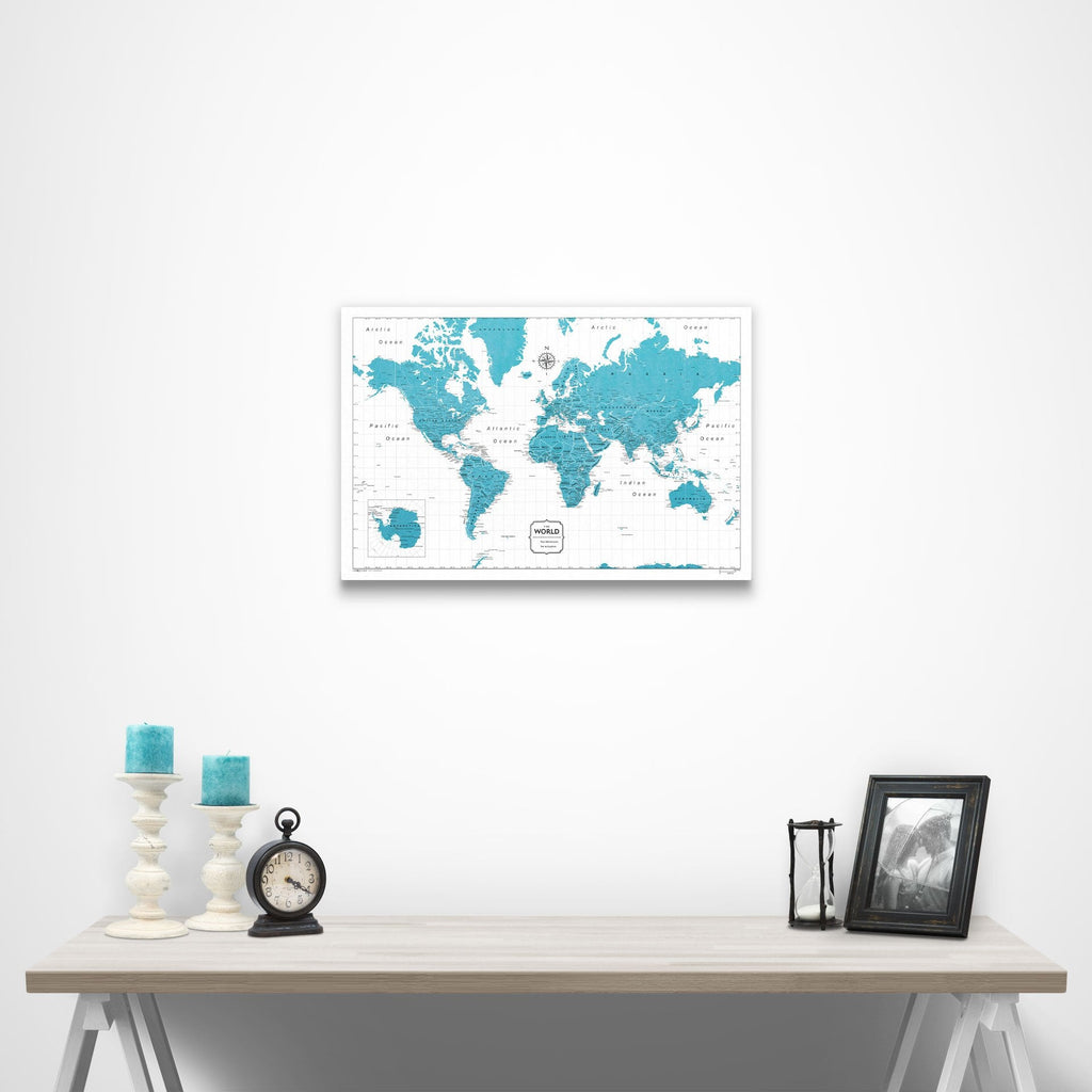 Push Pin World Map - Teal Color Splash www.conquestmaps.com
