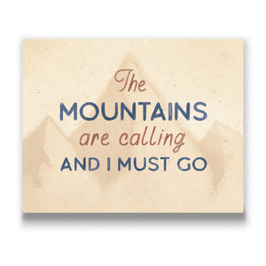 The mountains are calling Travel quote Canvas Art Thumbnail