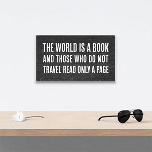 The world is a book Canvas Art over table with flower and sunglasses