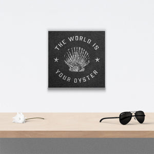 The world is your oyster Canvas Art over table with flower and sunglasses