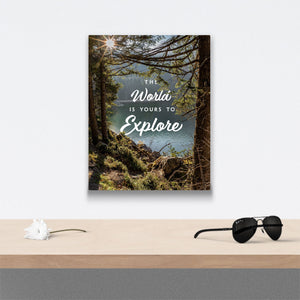 The world is yours to explore Canvas Art over table with flower and sunglasses