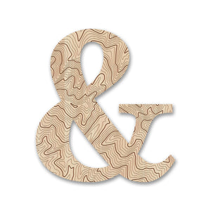 Wood Letters with Laser-Etched Topographic Map &