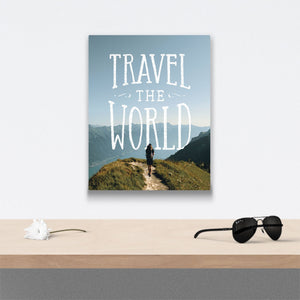 Travel the world Canvas Art over table with flower and sunglasses