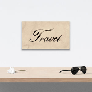 Travel Canvas Art over table with flower and sunglasses