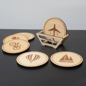 Wooden travel coasters