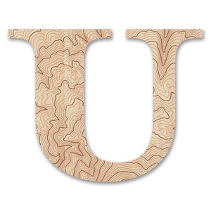 Wood Letters with Laser-Etched Topographic Map U