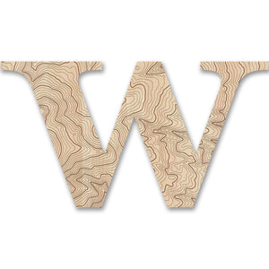 Wood Letters with Laser-Etched Topographic Map W