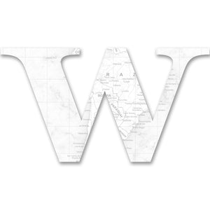 Wood Letters with White Map Print W