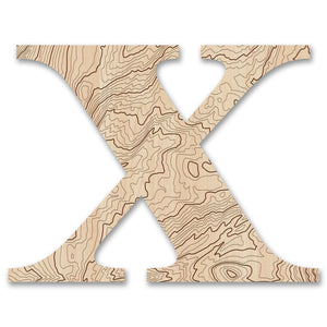 Wood Letters with Laser-Etched Topographic Map X