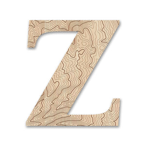 Wood Letters with Laser-Etched Topographic Map Z