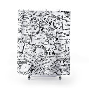 Passport stamp shower curtain thumbnail