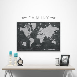 Family wall decal over modern slate world map