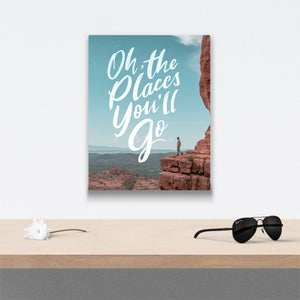Oh the places you'll go Canvas Art over table with flower and sunglasses