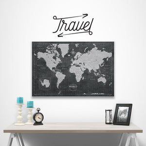 Travel wall decal over modern slate world map