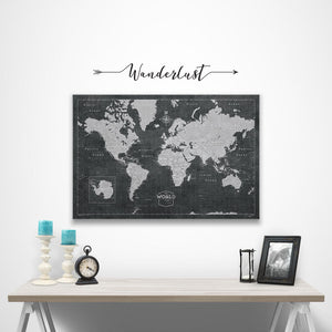 Wanderlust wall decal over modern slate world map