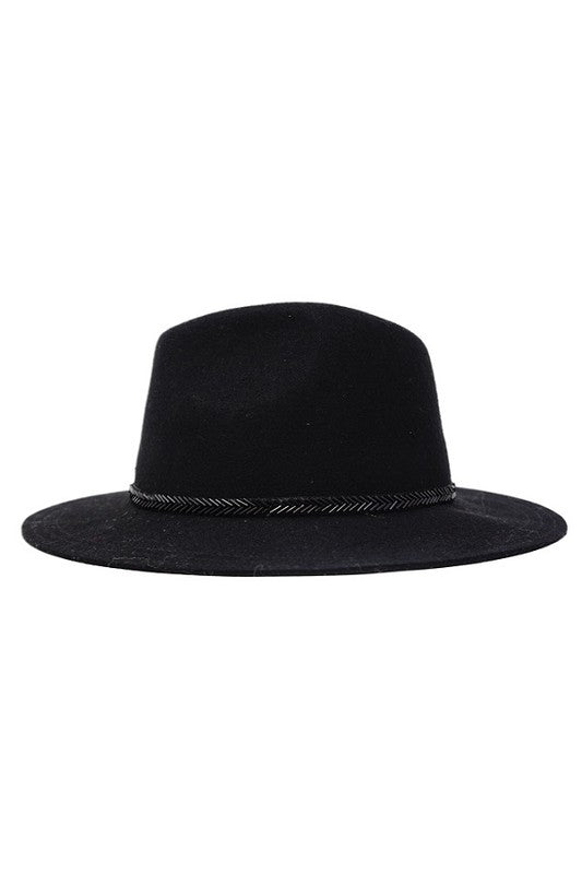 Randie Wool Panama Hat - Black (4101260378251)
