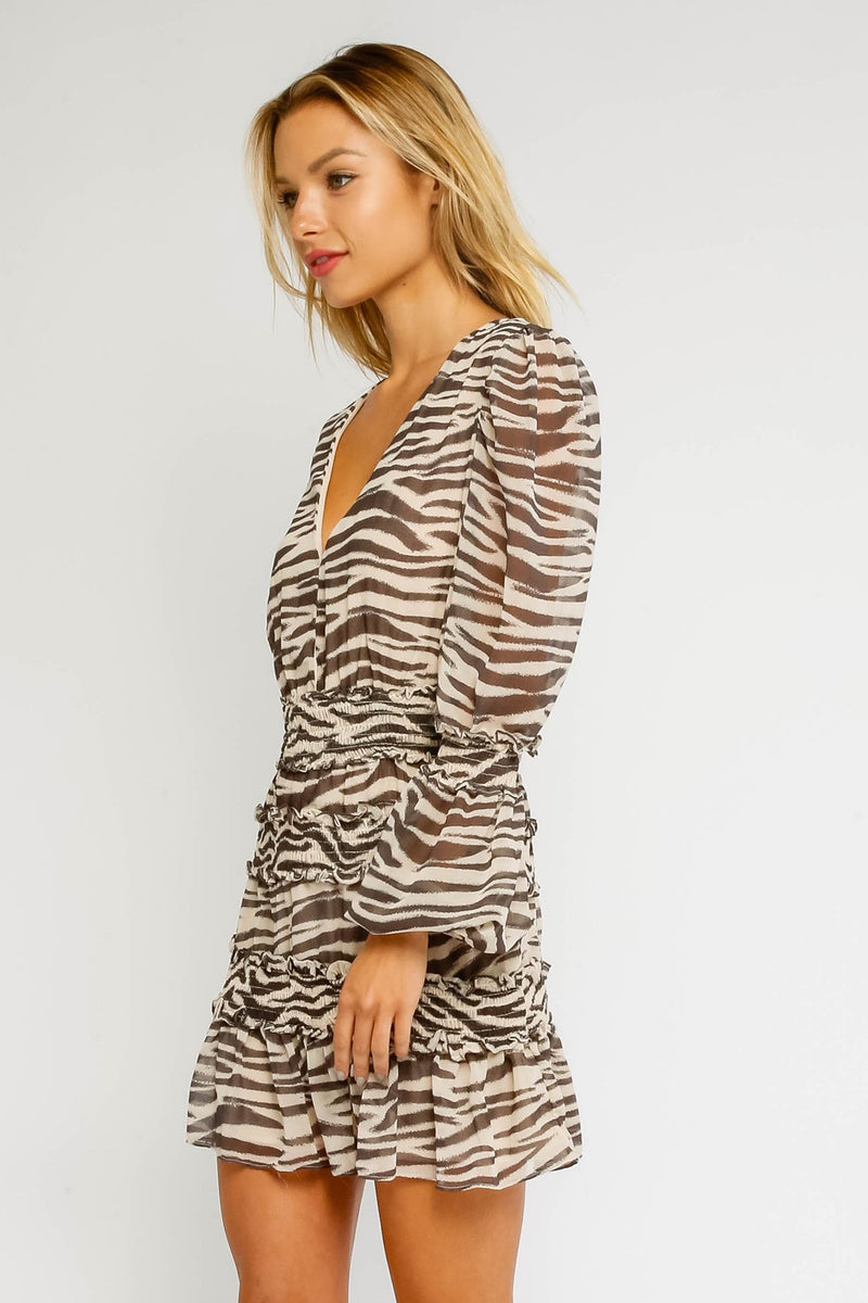 Way Up Zebra Smocked Mini Dress