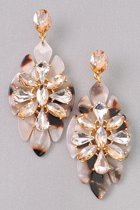 Hampton Tortoise Shell Jewel Earrings (2360736907324)